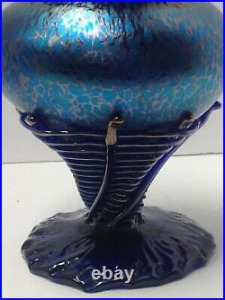 Loetz Phanomenen Art Glass Vase. Bohemia. Spider Web Application. Blue Oil Spot