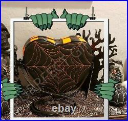 Love Pain & Stitches Heart Orange & Blk Spiderweb Cross Body Bagnewhalloween