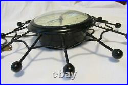 MCM Vintage Starburst United Wall Clock Atomic Mid Century Modern Spider Web