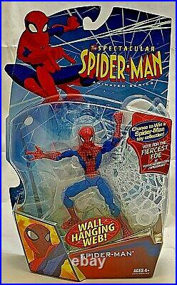 MIP Hasbro SPECTACULAR SPIDER-MAN Animated Series Action Figure WALL HANGING WEB