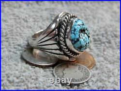 Mens Black Spiderweb Turquoise Sterling Ring Navajo Charles Charley Size 9