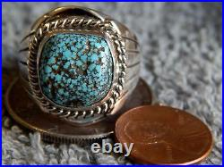 Mens Black Spiderweb Turquoise Sterling Ring Navajo Lorenzo James Size 10 3/4