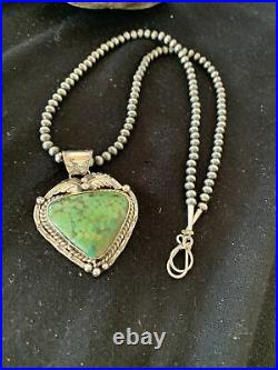 Mens Navajo Green Spiderweb Turquoise Sterling Silver Necklace Pendant Set 815