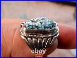 Mens New Black Spiderweb Turquoise Sterling Ring Navajo Russel Sam Size 11 1/3