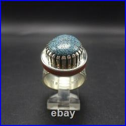 Michael Perry NAVAJO Heavy Sterling Silver KINGMAN SPIDERWEB TURQUOISE RING sz 9