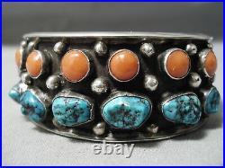 Museum Vintage Navajo Spiderweb Turquoise Coral Sterling Silver Bracelet Old