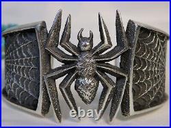 NAVAJO Kevin Yazzie Tufa Cast STERLING SIlver SPIDER & WEB Halloween 76g CUFF