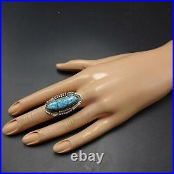 NAVAJO Sterling Silver KINGMAN SPIDERWEB TURQUOISE RING size 7.75 Peggy Skeets