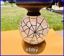 NEW! Light-up Water Globe FLYING BATS PEDESTAL 3-Wick Candle Holder Spider Webs