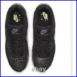 NIKE Air Max 90 SPIDER WEB DC3892-001 Halloween Black Smoke Gray Lime Light