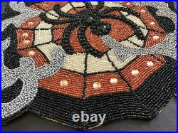 NWT Pier 1 Gorgeous Halloween Fall Beaded Spider Web Table Runner With Cut Outs