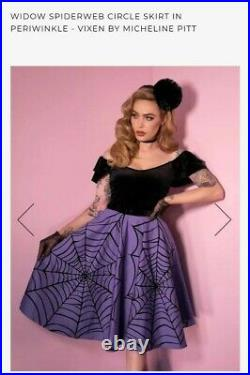 NWT Vixen by Micheline Pitt Periwinkle Spiderweb Circle Skirt 2X (No Belt)