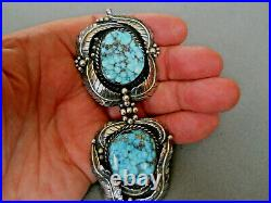 Native American Indian Spiderweb Turquoise Sterling Silver Feathers Pendant FA