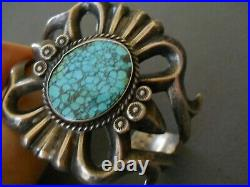 Native American Lone Mountain Spiderweb Turquoise Sterling Silver Cast Bracelet
