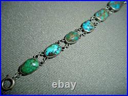 Native American Spiderweb BisbeeTurquoise Sterling Silver Link Bracelet