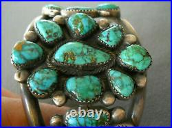 Native American Spiderweb Green-Blue Turquoise Cluster Sterling Silver Bracelet