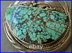 Native American Spiderweb Turquoise Inlay Sterling Silver Belt Buckle PVS