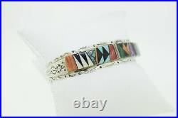 Native American Sterling Spider Web Turquoise Multi Stone Inlay Cuff Bracelet