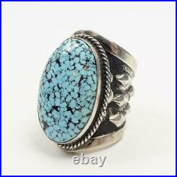 Native American Thick Sterling Silver Large Spiderweb Turquoise Ring Size 10.5