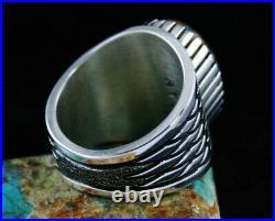 Navajo Alton Bedonie Natural Gem Grade Spiderweb Candelaria Turquoise Ring 11