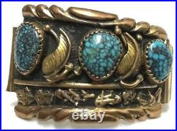 Navajo Andy Lee Kirk signed Spiderweb Turquoise/Silver/Gold Watch Band 14K