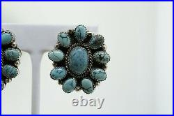 Navajo Bobby Johnson Sterling Silver Spider Web Turquoise Cluster Earrings