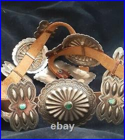 Navajo Jack Tom Sterling Silver Spiderweb Concho Belt with Turquoise Stamped 565gr