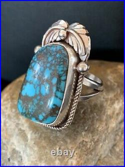 Navajo Native American Sterling Silver Blue Spiderweb Turquoise Ring Sz 9 551