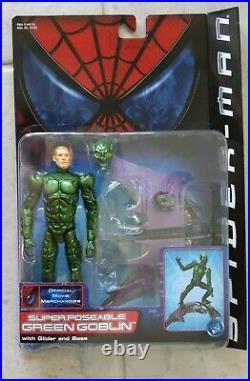 New 2002 Spider-man Movie Green Goblin Super Poseable Action Figure Toybiz! R101