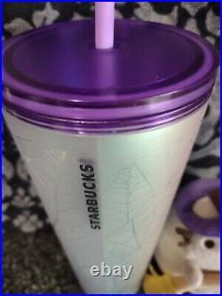New 2021 Starbucks Purple and White Spiderweb halloween Tumbler 24oz