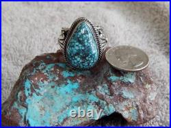 New Mens Black Spiderweb Turquoise Sterling Ring Navajo Russel Sam Size 12