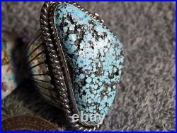 New Mens Huge Spiderweb Turquoise Sterling Ring Navajo Russel Sam Size 13 1/2