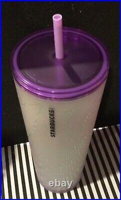 New Starbucks 2021 Purple & Frosted White Spiderweb Halloween Tumbler 24oz VHTF