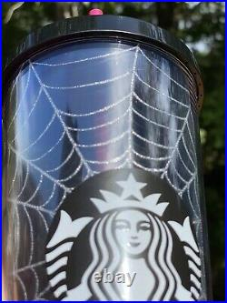 New Starbucks Glitter Spiderweb Tumbler Cup Limited Edition Halloween 2019 24 oz