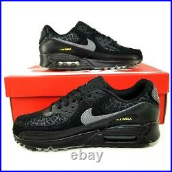 Nike Air Max 90 Halloween Spiderweb Athletic Shoes Mens Size 6.5 Womens 8 Black
