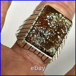 Number 8 Mine Spiderweb Turquoise Mens Ring Sz 10.75 Navajo Signed Ray Jack 15g
