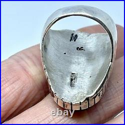 Number 8 Turquoise Mens Ring Sz 11 Navajo Signed Ray Jack Oval Native Spiderweb
