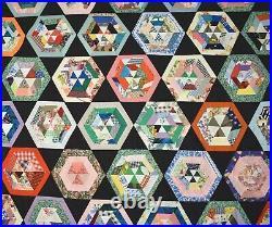 OUTSTANDING Vintage Spider Web / Hexagon / Stars Quilt Top, Black Background
