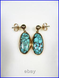 Old Pawn Southwest Spiderweb Kingman Turquoise 14k Yellow Gold Drop Earrings