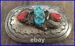 Old Vintage Navajo Spiderweb Turquoise, Coral & Sterling Silver Belt Buckle