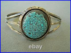 P. A. SMITH Native American Spiderweb Turquoise Sterling Silver Cuff Bracelet
