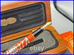 PARKER Duofold Orange Fountain Pen FULTZ Sterling Silver SPIDER WEB Overlay NEW