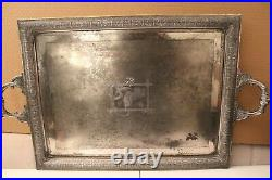 Pairpoint MFG Co Quadruple Plate Serving Tray Stylized Flowers-Spiderweb