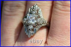 Perfect Art Deco Engagement Spiderweb Filigree Ring 14k Gold Over 2.3 Ct Diamond