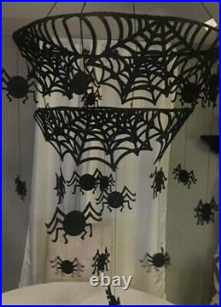 Pottery Barn Kids Halloween Spider Web Chandelier Mobile Felted Iron NWT