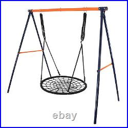 Powder-Coat Painted Steel Swing Frame + 40 Spider Web Swing Max 600 lbs Yellow