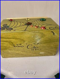 Rare Enid Collins spider web & bugs wooden box purse w mirror! Great condition