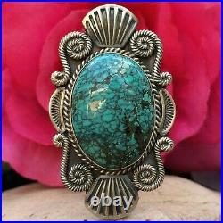 Rare Native American Navajo Spiderweb Turquoise Mike Calladitto Sterling Ring 7