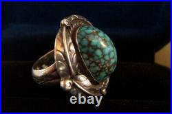 SPIDERWEB Turquoise old #8 SUPERB- size 7- Vintage silver ring circa 1940's-50's