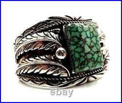 Signed Heavy American Indian Navajo Sterling Silver Spiderweb Turquoise Bracelet